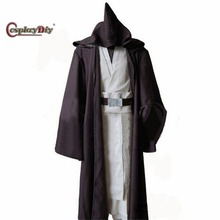 Cosplaydiy Custom Made Movie Star Wars Oude Obi Wan Kenobi Kostuum Volwassen Mannen Halloween Carnaval Cosplay Kleding J5(China)