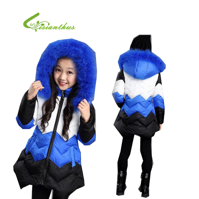 ФОТО 2017 New Sale Autumn And Winter Children's Long Coat Girls Thicken Leisure Korean Style Blue Patchwork Cotton Long Sleeve Jacket