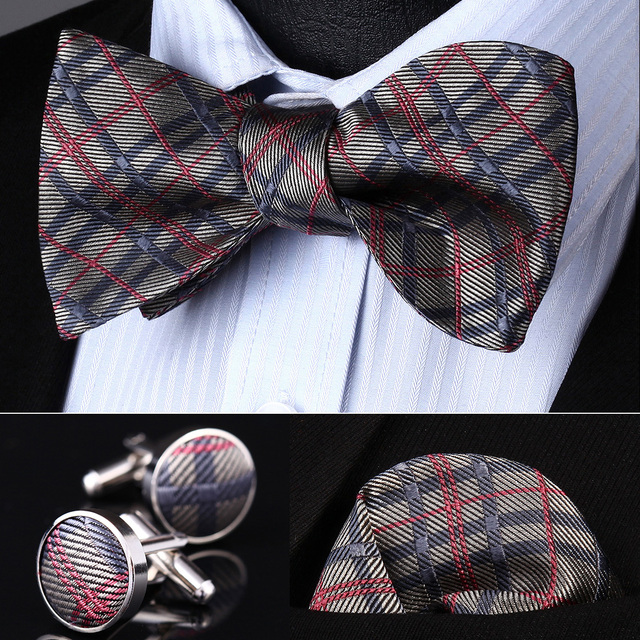 Pocket Square Classic Party Wedding BZC02A Gray Pink Check Men Silk Self Bow Tie handkerchief Cufflinks set