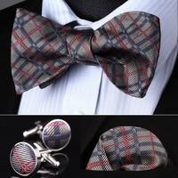 Pocket Square Classic Party Wedding BZC02A Gray Pink Check Men Silk Self Bow Tie handkerchief Cufflinks set