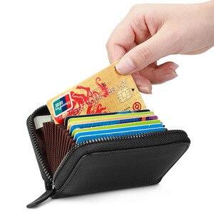 Image 4 - Newbring 정품 가죽 기능 nfc 차단 12 30 비트 명함 홀더 남여 지퍼 은행/id/신용 카드 지갑 여성 남성
