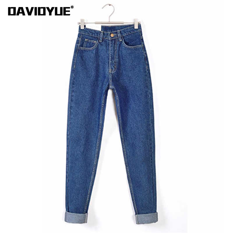 Vintage jeans de cintura alta Mujer 2019 skinny Negro Azul mamá novio jeans para mujeres pantalones vaqueros Mujer Pantalones streetwear