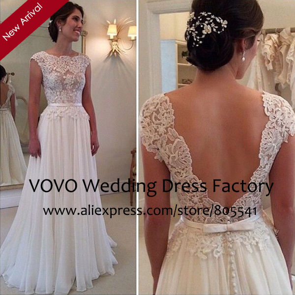 Y Sheer Top Lace Liques Ivory Wedding Dress Vintage A Line Cap Sleeve Long Chiffon