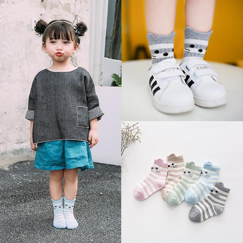 wholesale childrens socks cute three dimensional stripe cat small fresh cotton socks girl 5Pairs