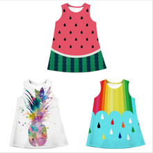 все цены на 2019 Baby Girl Dress Watermelon Pineapple Print Summer Fashion Sleeveless Girl Clothes Children Vestidos Kids Dresses онлайн
