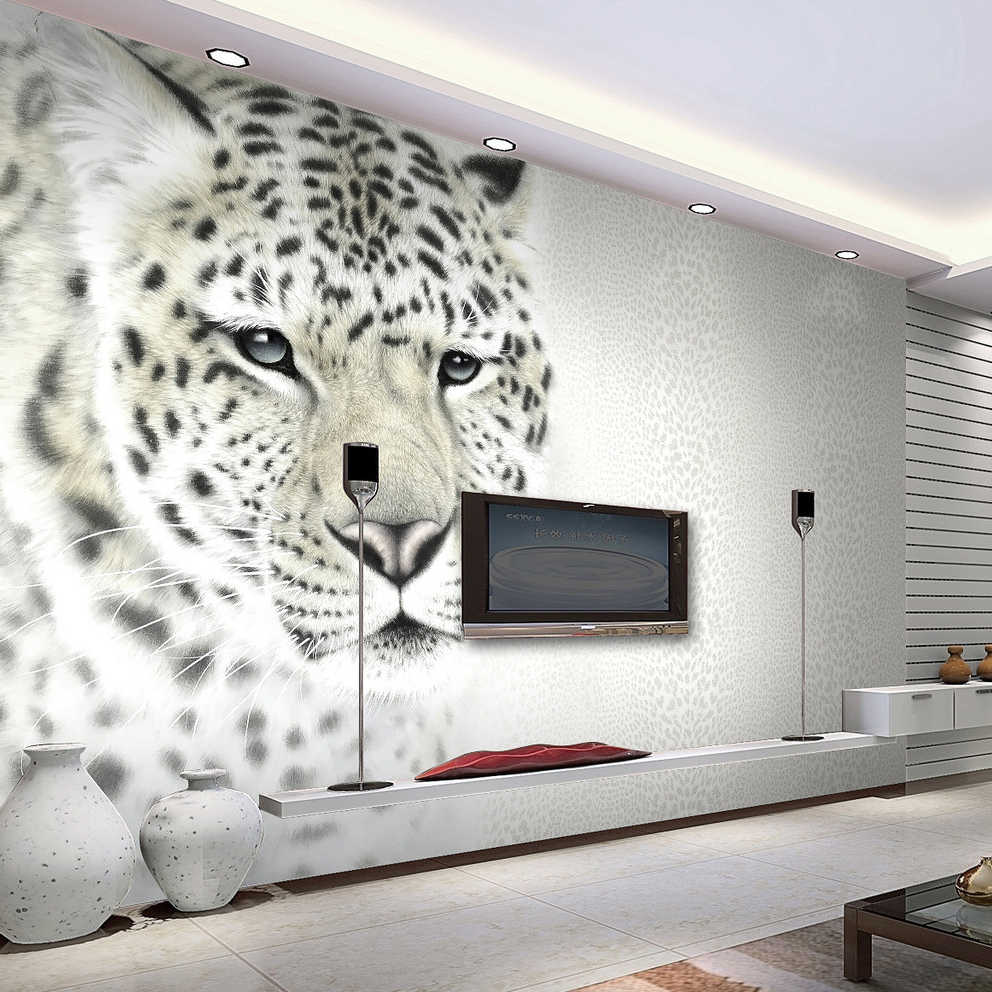 Animal White Leopard Photo Mural Customized Size Non Woven 3d Wall Paper Living Room Tv Sofa Background Modern Simple Home Decor Wall Paper Living Room 3d Wall Paperphoto Murals Aliexpress