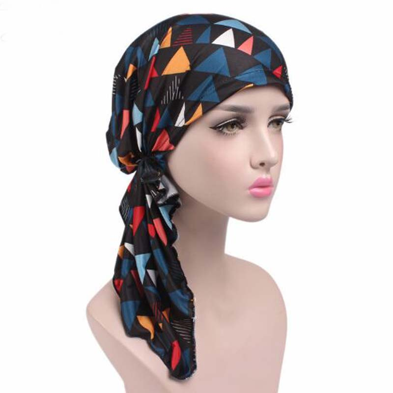 Hot Style Stretch Printing PRE-TIE-STYLE   Skullies     Beanies   Spring Autumn Brand Turban Hats For Women Chemotherapy Cap
