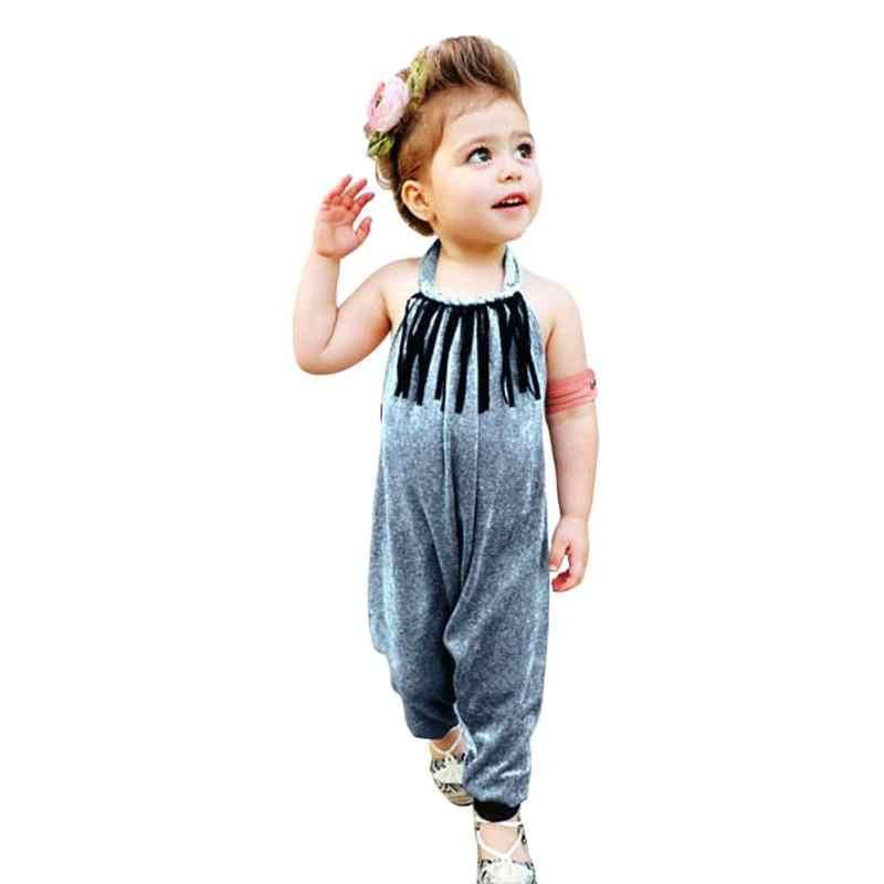 1 pieza bebé niñas mono Unisex bebé mameluco de hombro niños Halter terciopelo borla infantil monos sin espalda ropa de niños