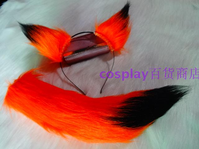 Anime Cos Stage Props Orange Black Stitching Plush Fox Ears Wolf