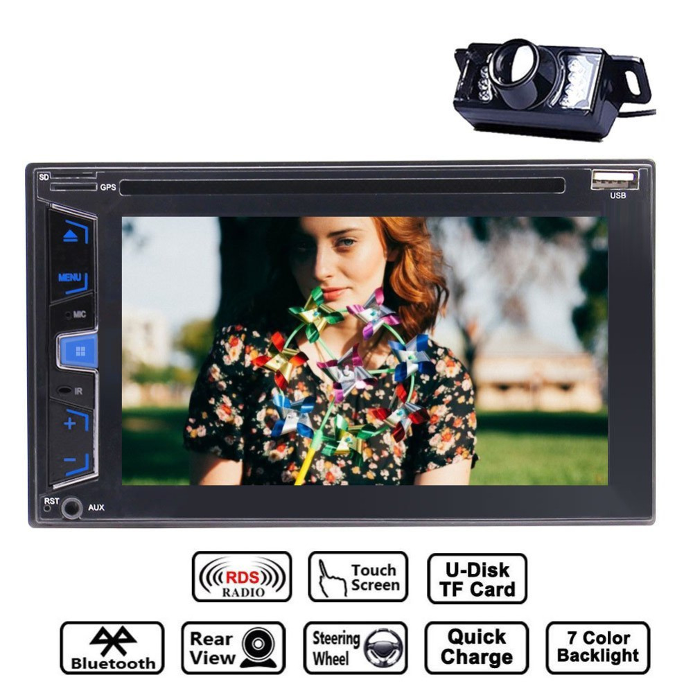 Backup Camera+2Din In Dash Car DVD CD Player Car Stereo 6.2'' FM AM RDS Radio Bluetooth SWC Dual SD Card Slot AUX+Remote Control free hd camera included windows 8 0 ui cd dvd player 2 din universal car stereo radio 6 2 inch touchscreen camera remote control