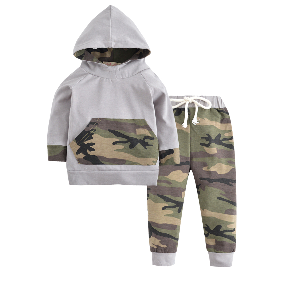 New 2018 Autumn Newborn Baby Boys Girls Clothes Gray Long Sleeve Hooded Tops+Army Green Pants Toddler Infant Clothing Set 6-24M