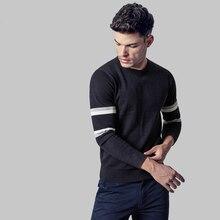 Men's 2016 autumn new men's youth sweater hedging round neck sweater stitching Slim stylish striped sweater youthful WZ291