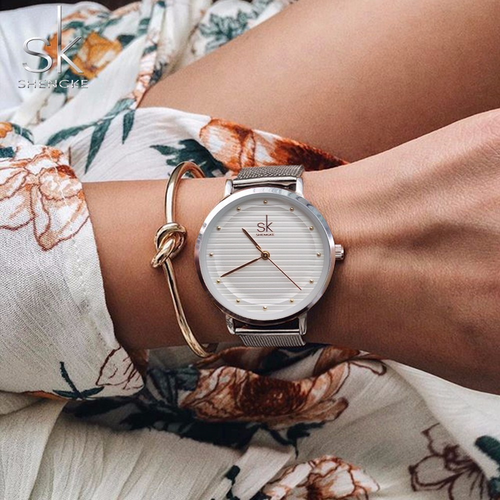 Shengke Brand Fashion Wristwatches Women Stainless Steel Band Women Dress Watches Women Quartz Watch Relogio Feminino New SK misscycy lz the 2016 new fashion brand top quality rhinestone men s steel band watch quartz women dress watch relogio feminino