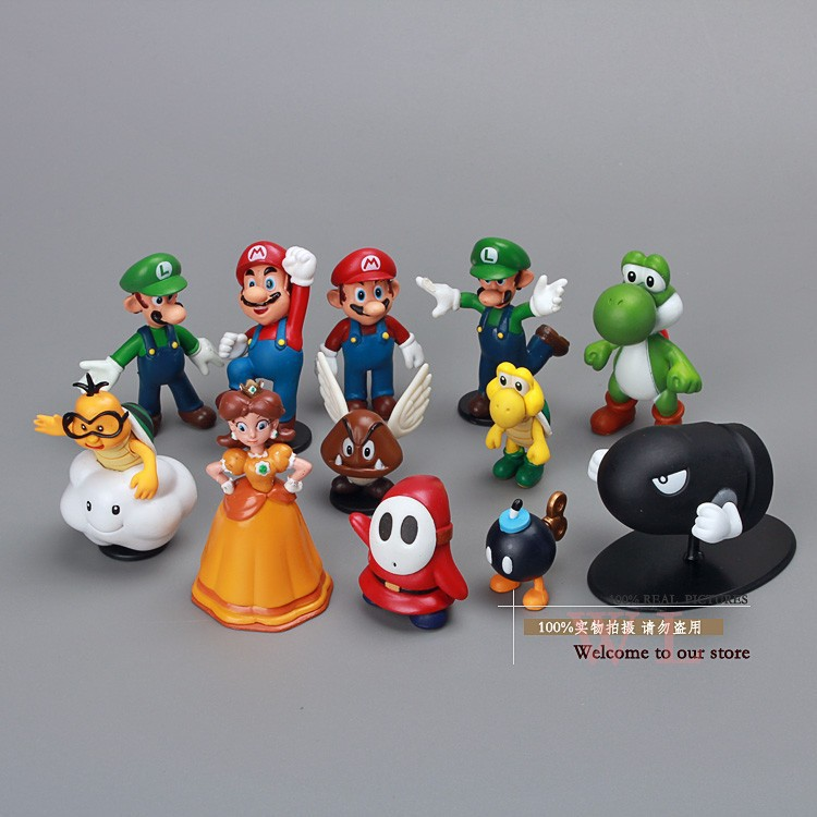 Free Shipping Super Mario Bros PVC Action Figures Toys Dolls 12pcs/set SMFG183 lps pet shop toys rare black little cat blue eyes animal models patrulla canina action figures kids toys gift cat free shipping