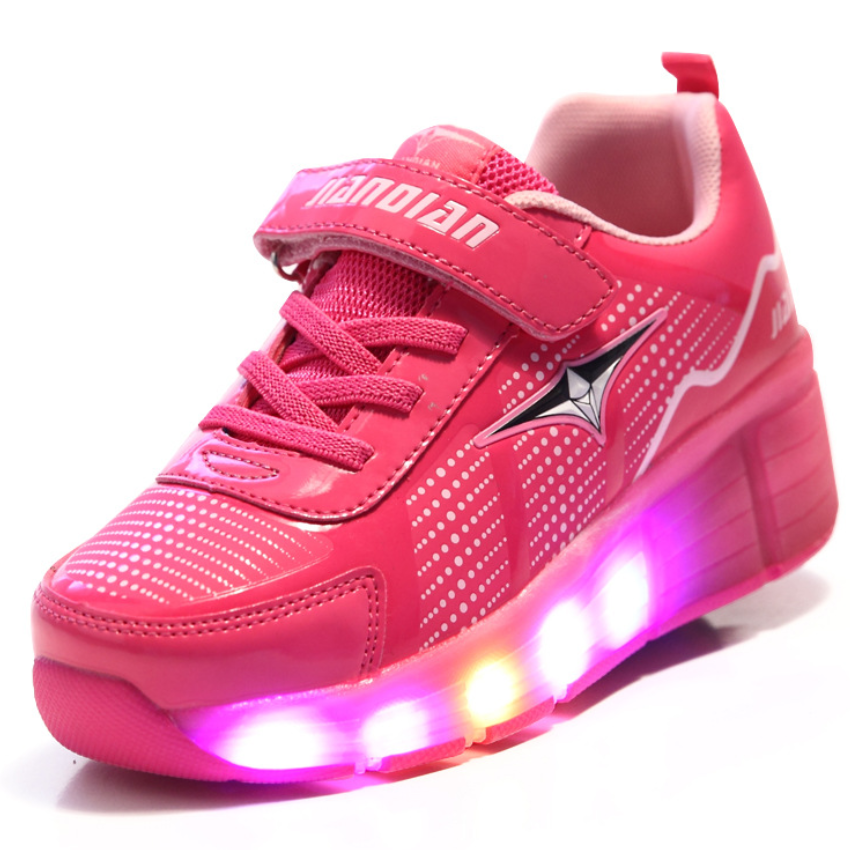 New 2017 Wheels Shoes Children Led Luminous Sneakers Fashion Boys Girls one/two Wheel Sports Shoes Hot Selling new hot sale children shoes pu leather comfortable breathable running shoes kids led luminous sneakers girls white black pink
