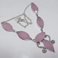 Rose Quarts Necklace Silver Overlay over Copper , 48.5 cm, N0916