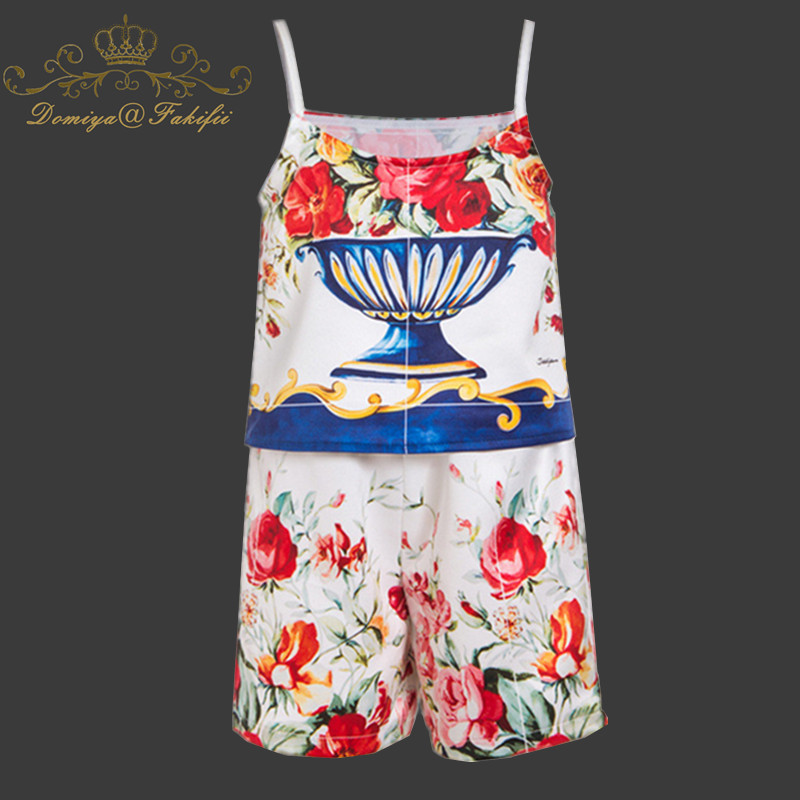 2018 New Brand Casual Children Clothes Sets Flowers Print Top+Shorts 2 pcs Girls Clothing Sets Kids Summer Suit For 2-8 Years