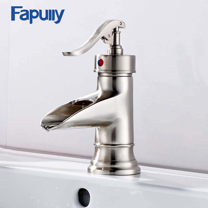 Fapully Bathroom Faucet Bathroom Basin Mixer Tap Brushed Nickel Single Lever Waterfall Faucet Cold Hot Sink Faucet nickel brushed bathroom lavatory faucet hot and cold single lever ceramic handle bathroom basin faucet sink mixer tap