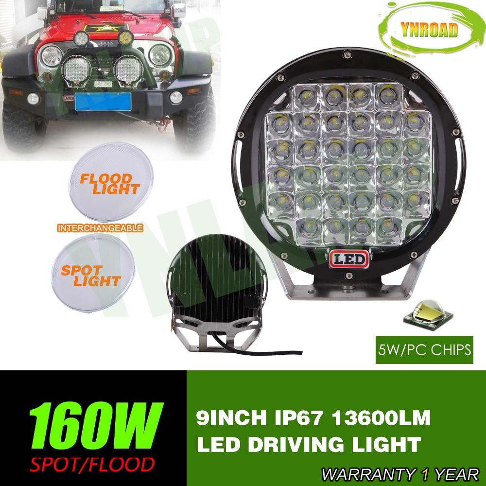 YNROAD 2ks 160w 9 palců černá vedená off road světla vedená pracovním světlem vedená světla pro SUV, ATV, UTV použití 14400LM