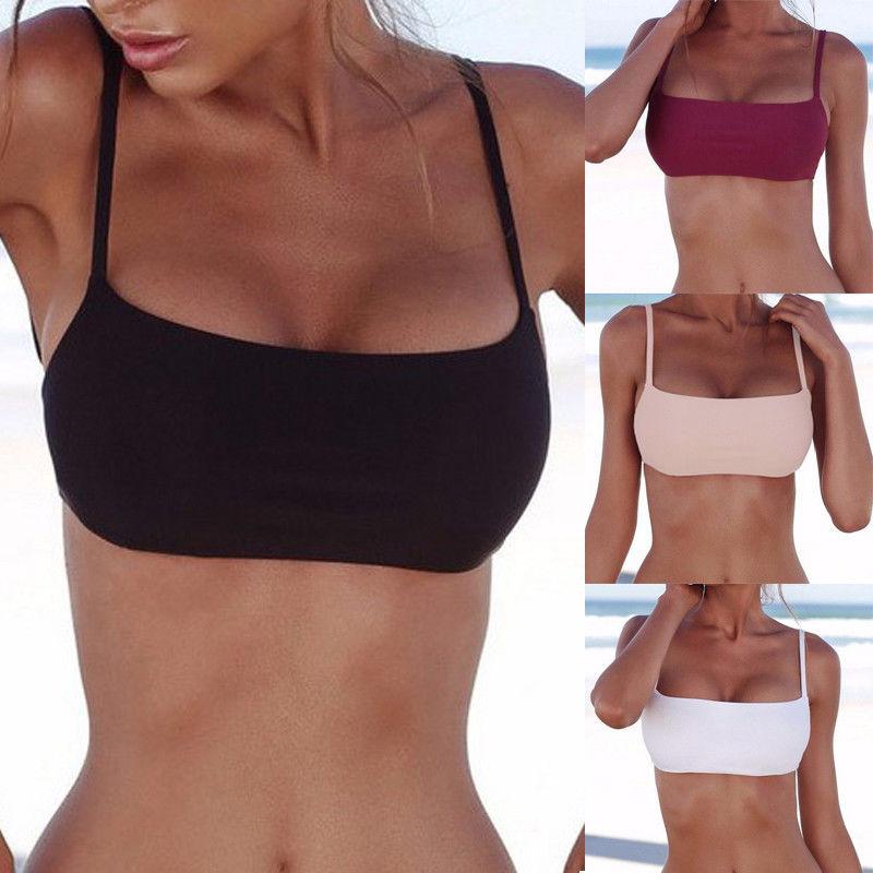 2018 New Unpadded Bikini Top Sexy Pure Color Swimwear Women Bathing Suit Women Swimming Top Monokini Crop Top New Only Top