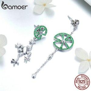 Image 3 - Bamoer authentic 925 prata esterlina jumping sapo verde zircão brincos de gota para mulheres longa corrente animal jóias bse027