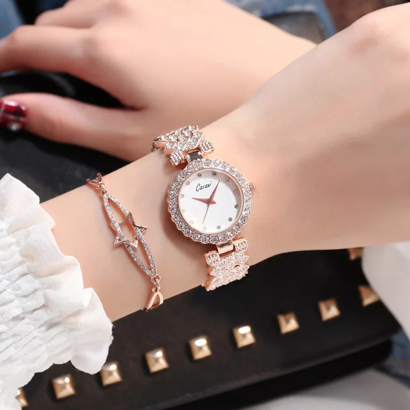 Cacaxi 2018 New Women Rhinestone Watches Lady Dress Women watch Diamond Luxury brand Bracelet Wristwatch 2 Pcs set Crystal Clock free silver bracelet watch set full diamond bangle watch lady luxury dress jewelry charm watch rhinestone bling crystal bangle
