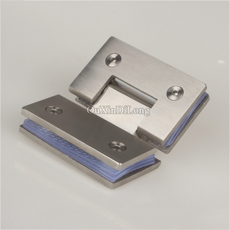 купить HOT 2PCS 304 Stainless Steel Frameless Shower Glass Door Hinges 135 Degree Glass to Glass Fixed Clamps Holder Brackets 4 Colors недорого