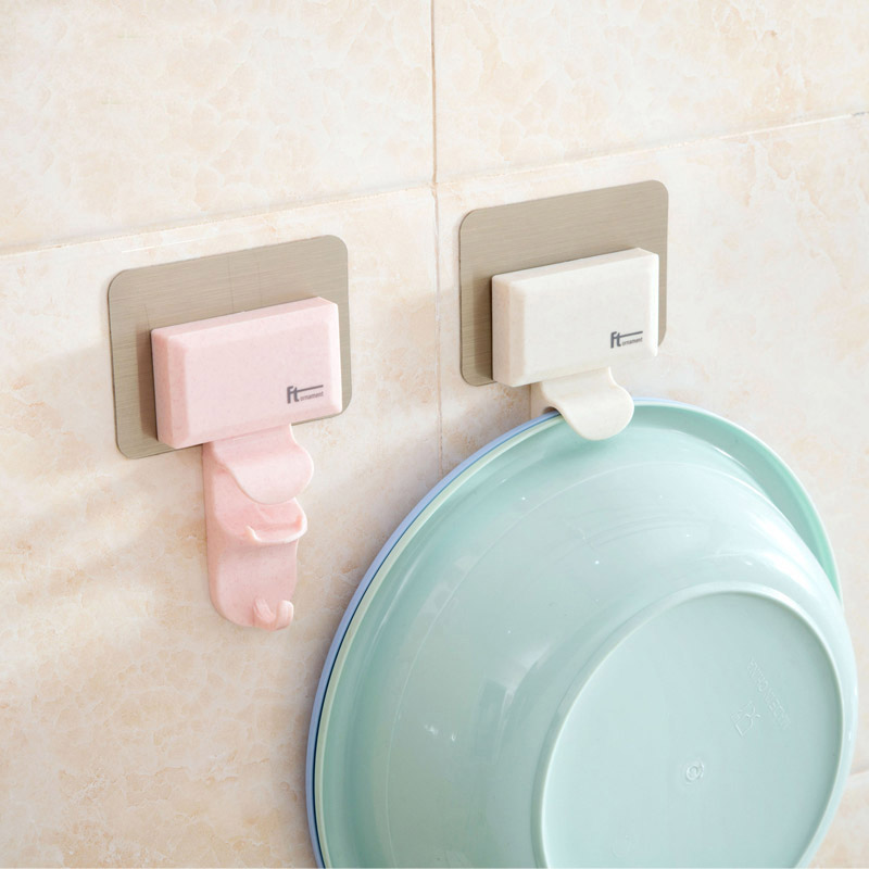 New Creative Strong Washbasin Hook Rack Storage Holders High-quality Kitchen Bathroom Sticky Organizer Hot Sale Color Random