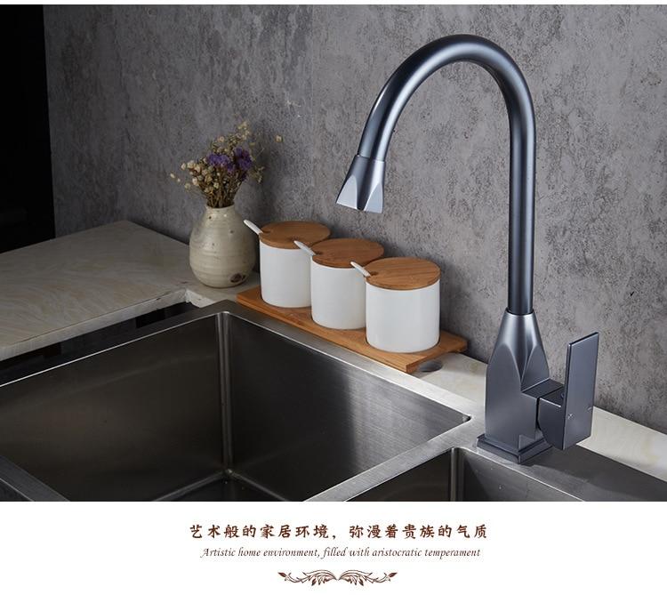 Robinet Vertical cuisine chaud et froid évier mélangeur espace aluminium brossé robinet d'eau robinet pour cuisine/salle de bain lampe douche V - 5