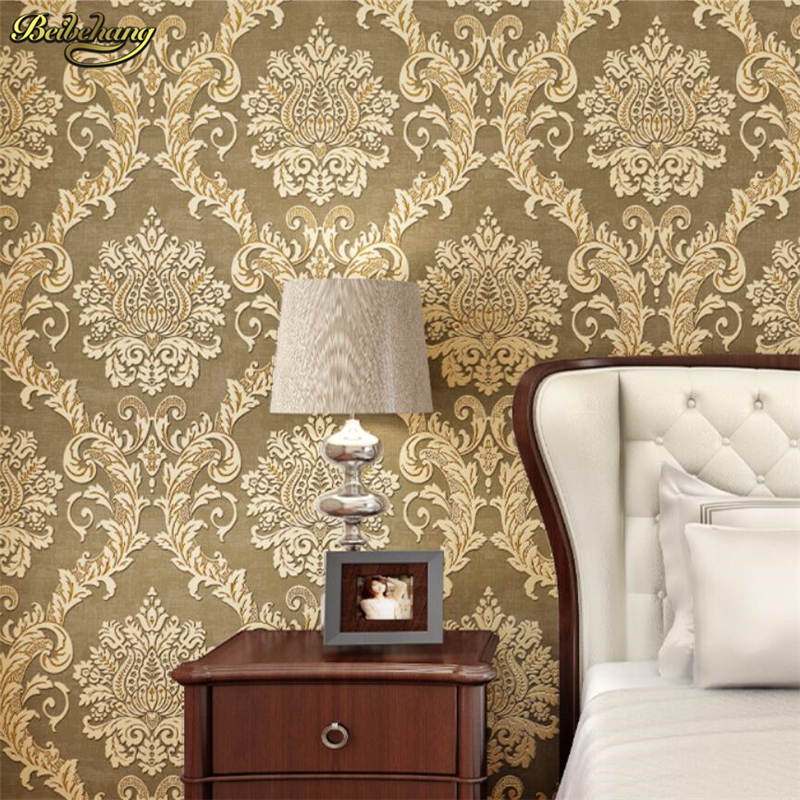 beibehang 3D Stereo Nonwovens Wallpaper Luxury Continental Damascus wall paper AB living room sofa background papel de parede