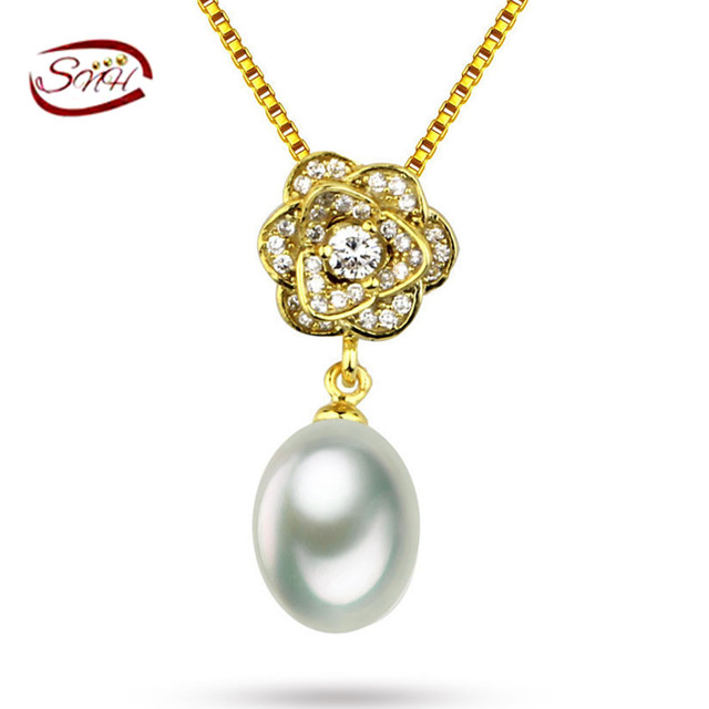Snh aaa perfectamente redonda perla de agua dulce colgante real natural cultivadas de agua dulce de la perla plata de ley 925 colgante de joyería