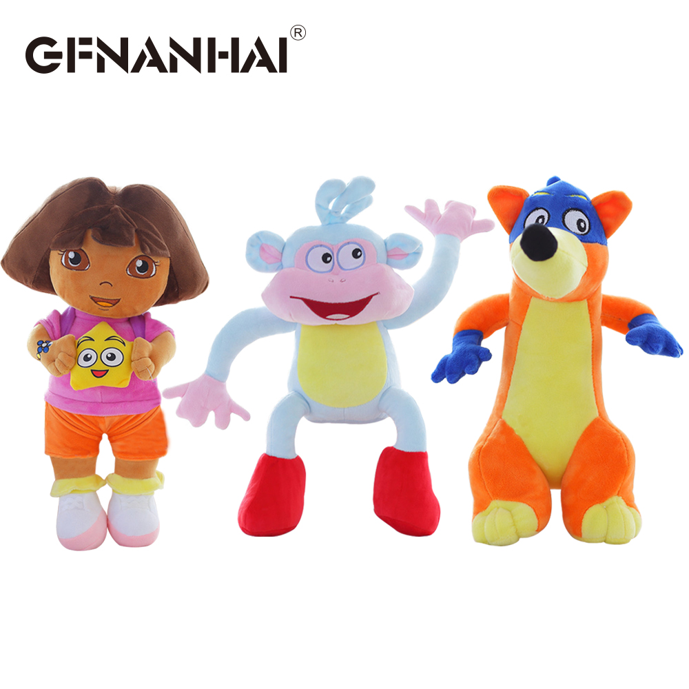 3pcs/lot hot sale 25cm Genuine love adventure of Dora monkey Boots Swiper plush toy stuffed soft TV & movies game doll kids gift amysh hot 4 colors 65cm long arm monkey from arm to tail plush toys colorful toy soft monkey curtains monkey stuffed animal doll