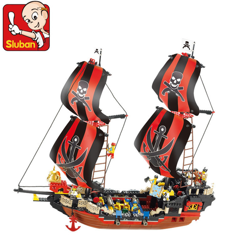 Sluban 632Pcs Pirates The Black Pearl Building Blocks Enlighten DIY Bricks 3D Construction Toys for Children free shipping bela 9788 ninja diy construction bricks toys for children