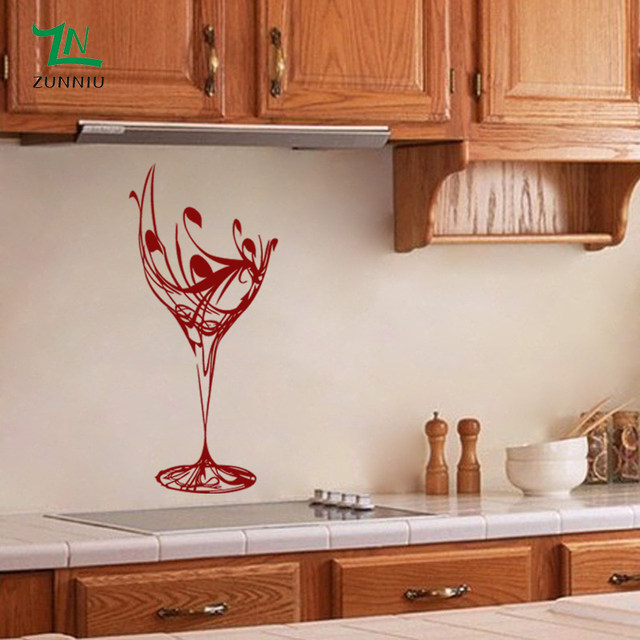 Online Shop ZN Elegante Wine Glass Wall Stickers per la cucina ...