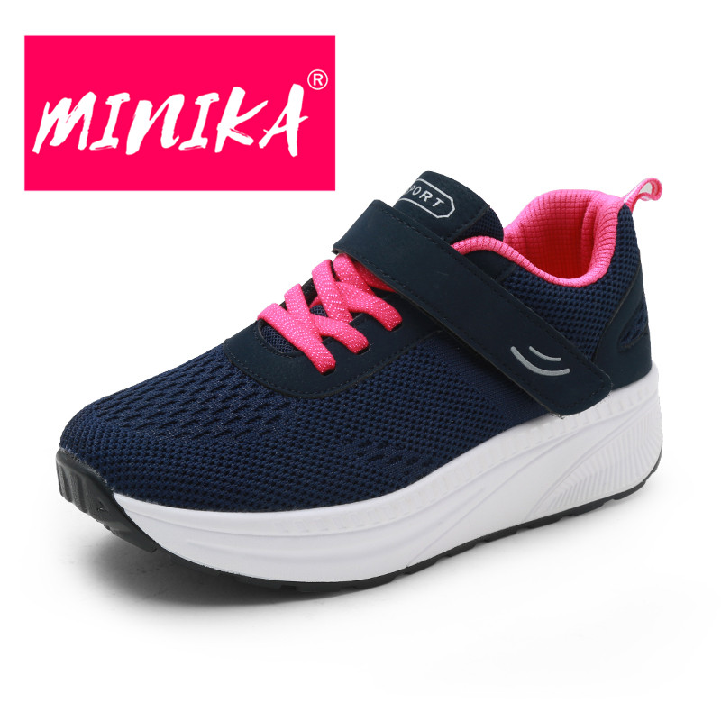 MINIKA Large Size Elderly Couple Shoes Casual Breathable Air Mesh Shoes Women No-slip Shockproof Light Hook Loop Sneakers 35-41 air mesh breathable hook