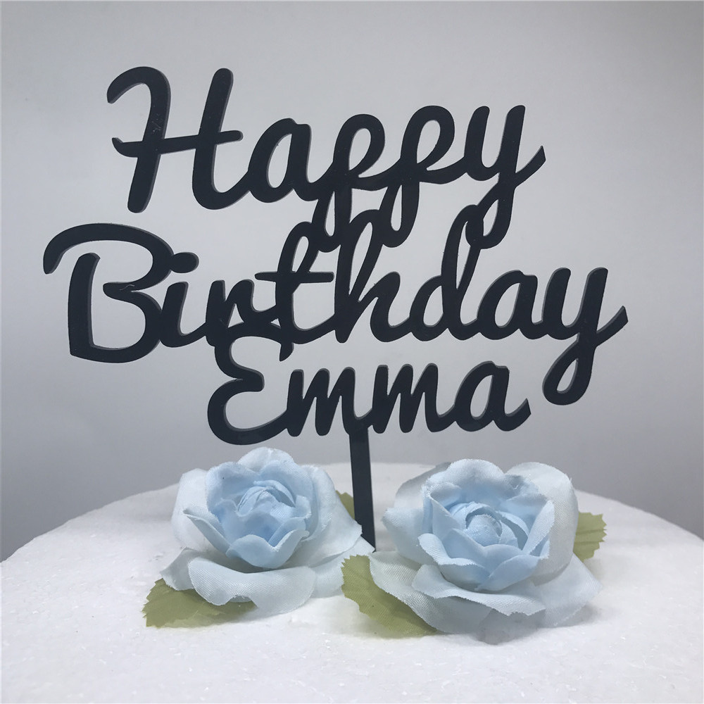 Custom Happy Birthday Cake Topper Personalized Acrylic Wedding Party Baby First Birthday Cake Topper Stand Decoration