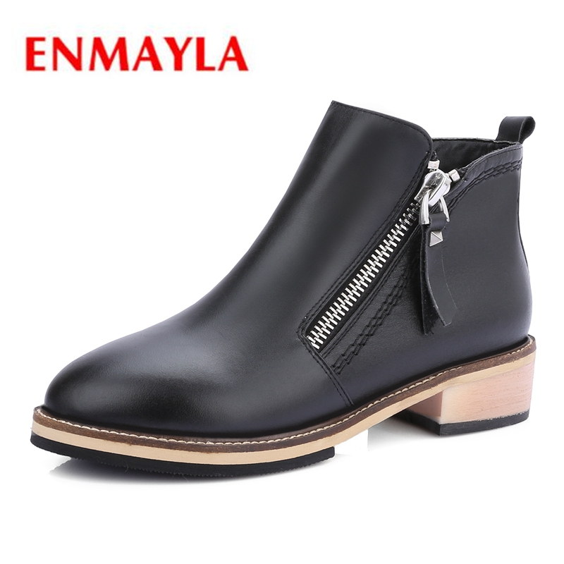 ENMAYLA  Round Toe  Basic  Zip  Genuine Leather  Shoes Woman  Botas Mujer Invierno  Flat with Big Size34-40 ZYL1903ENMAYLA  Round Toe  Basic  Zip  Genuine Leather  Shoes Woman  Botas Mujer Invierno  Flat with Big Size34-40 ZYL1903