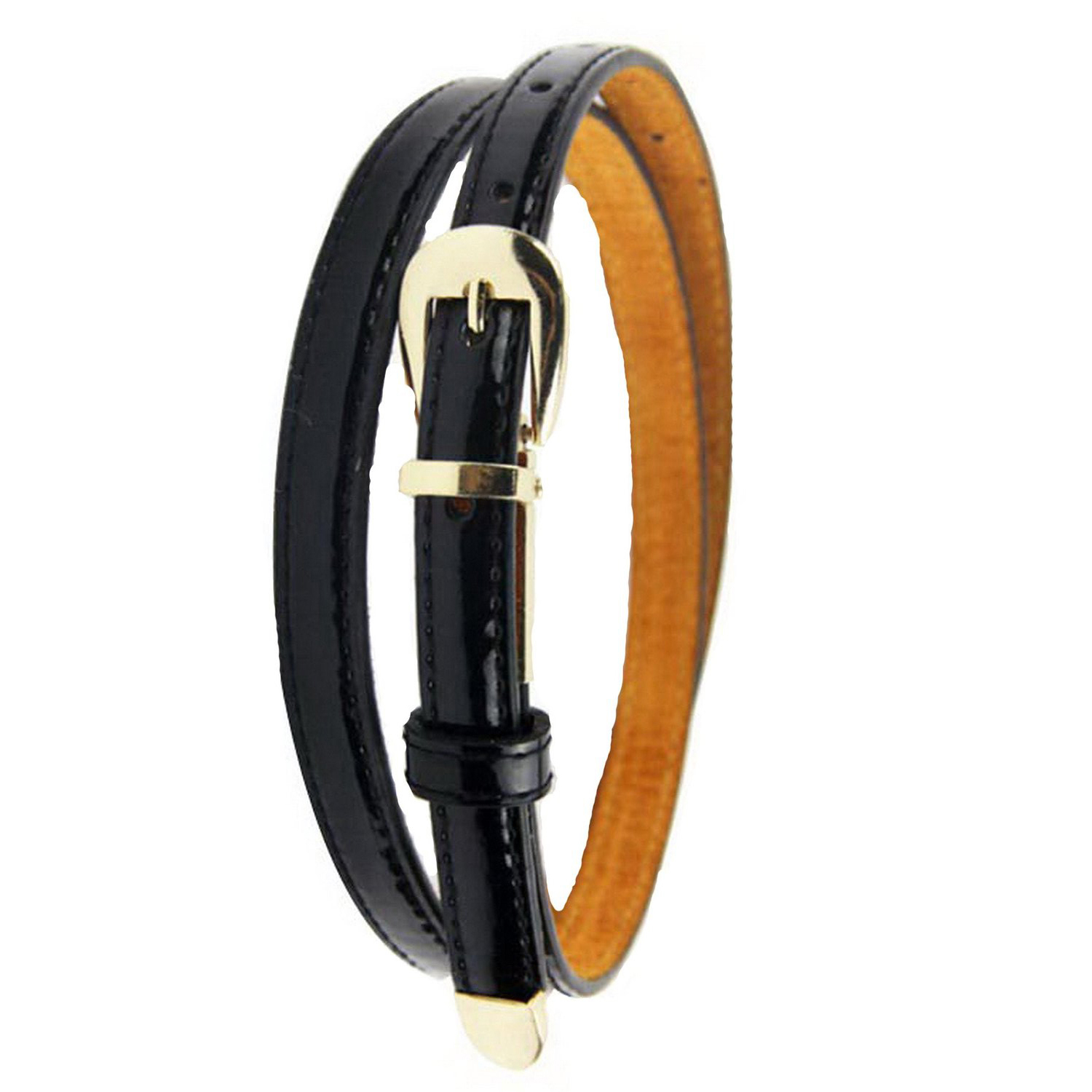Modern Womens Candy Color Pu Leather Thin Belt Thin Skinny Waistband black light tan coffee pink orange yellow rose red