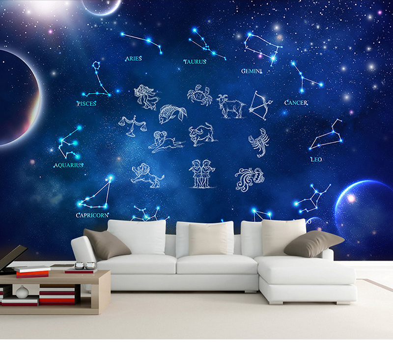 Us 1158 38 Offbacaz Sky Design Star And Moon Pattern Mural Wallpaper Kids Room Decor Constellation Wall Paper For Children Bedroom In Wallpapers