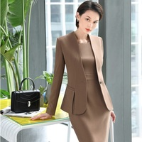 High Quality Fabric Novelty Apricot Formal Uniform Designs Blazers Suits With Jackets And Dress For Ladies Office Wear Sets