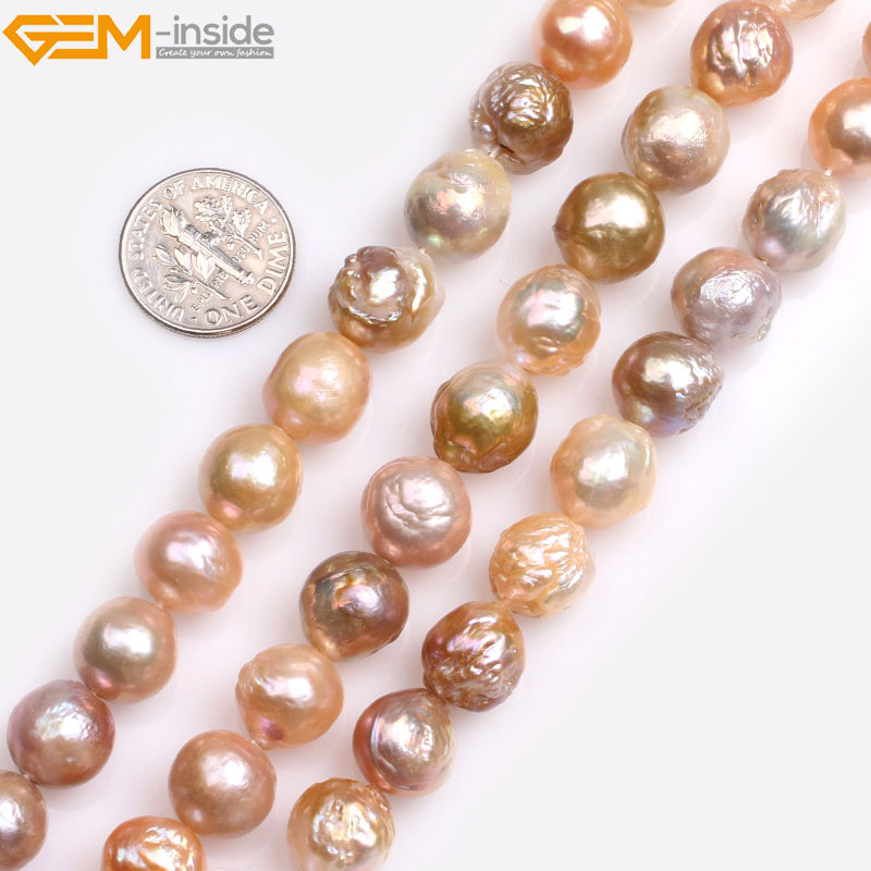 цена Gem-inside Natural large Near Round Purple White Pink Nuclear Edison luster Pearls Beads for Jewelry Making 15'' DIY Jewelry