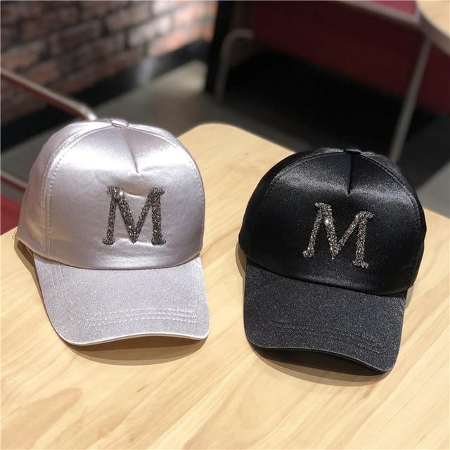 42eabd743f6d6 2018 Fashion Summer Baseball Cap Women and Men M letter Rhinestone Snapback  Silk satin Cap Adjustable girls Hats Dad Hat Bone