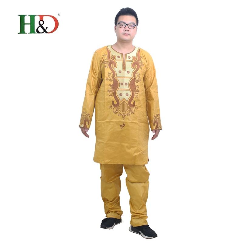 Africké šaty pro muže oblečení 2019 tradiční mens africké oblečení košile kalhoty kalhoty obleky šaty hábit Bazin bohaté výšivky