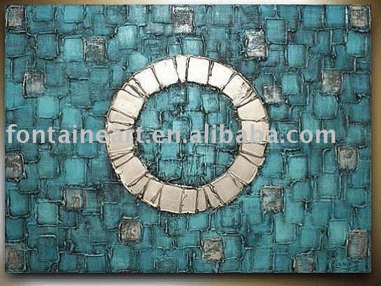 Handpainted Abstract Canvas Painting,blue,silver,center circle,freeshipping