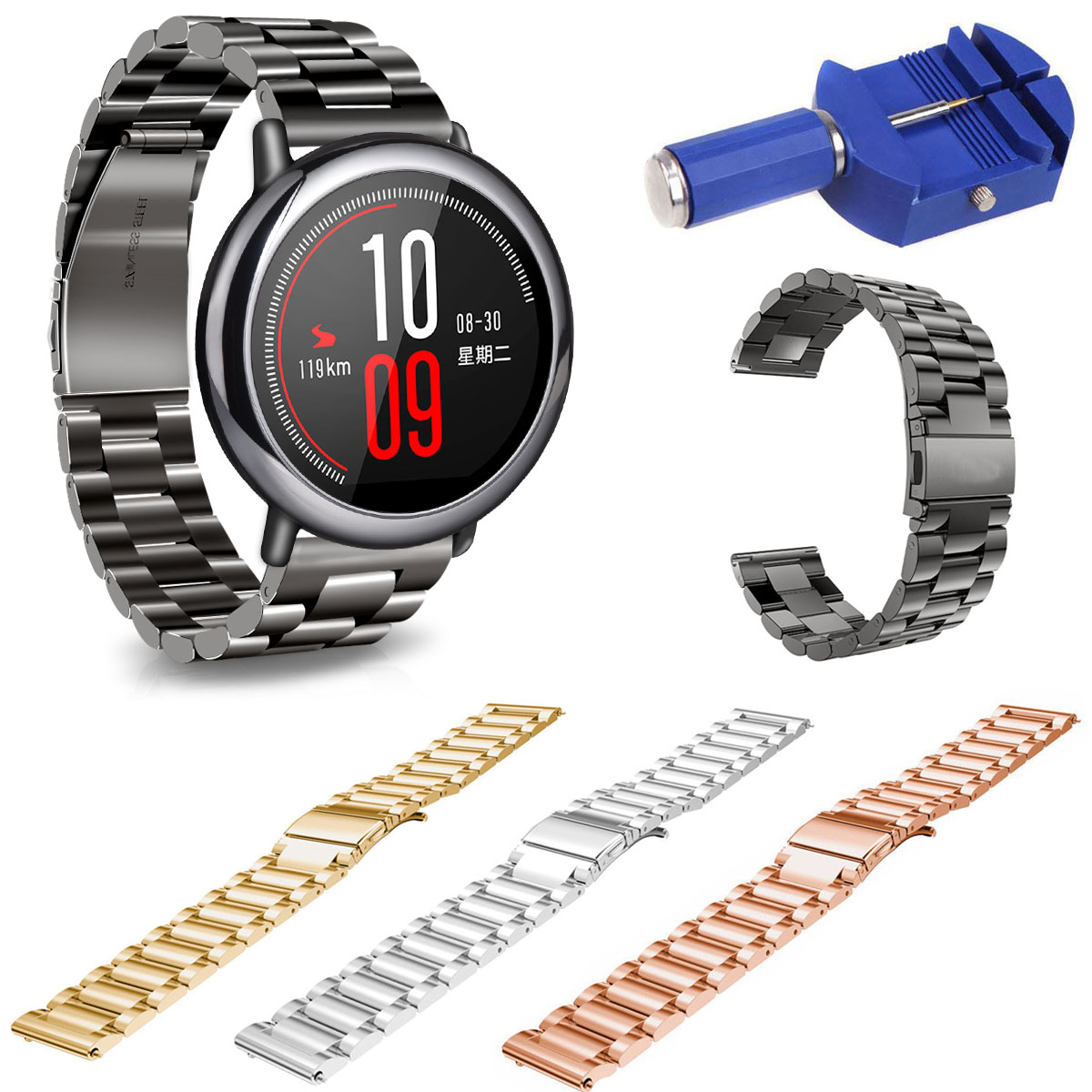 Stainless Steel Watch Band For Xiaomi Huami Amazfit A1602 Strap 22mm Classic Metal Band Belt Bracelet with Spring Pins original xiaomi steel net watch band for miband