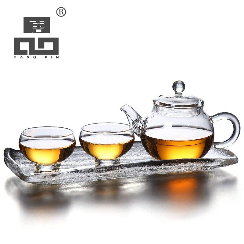 TANGPIN heat-resistant glass teapot gaiwan teacup coffee maker glass tea set with trayTANGPIN heat-resistant glass teapot gaiwan teacup coffee maker glass tea set with tray