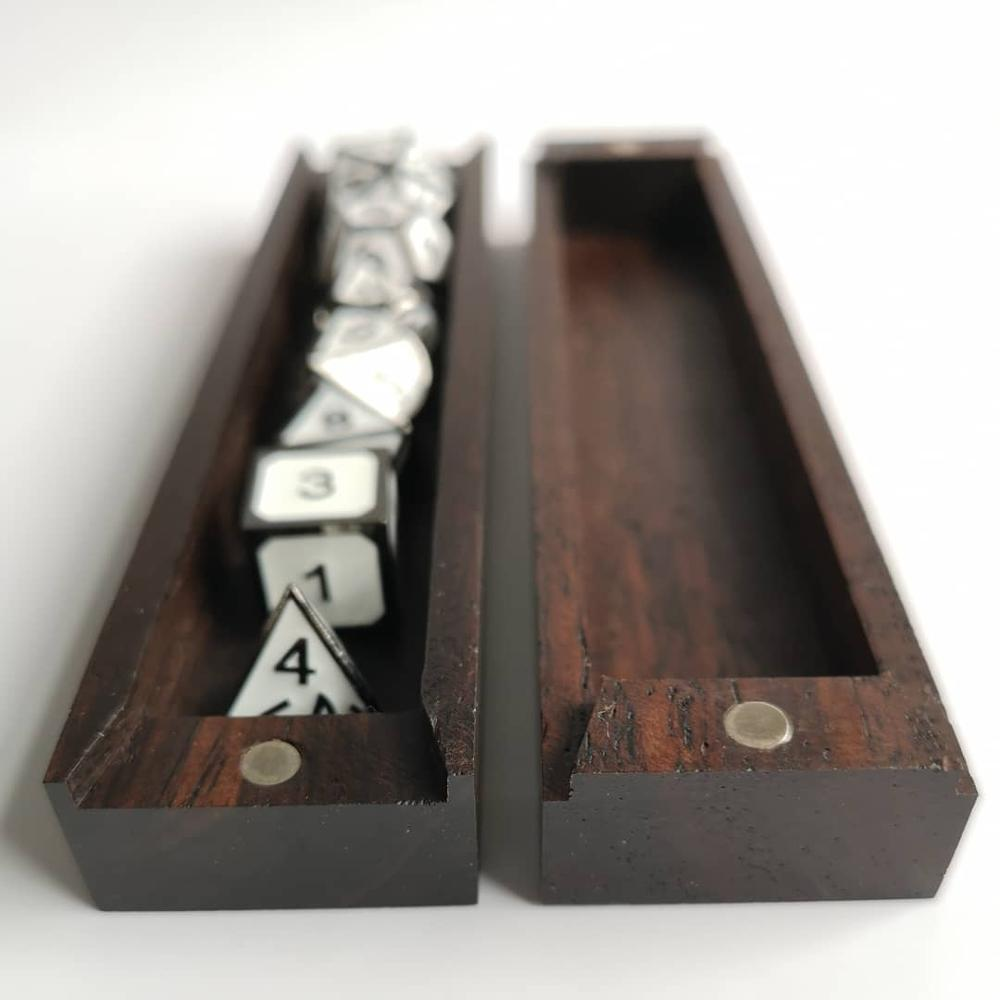 Rollooo Dice Box Fit The Standard 7-Die Set Magnets Close Soft/Hard/Very Hard 3 Materials Wooden Case Dice Tray