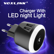 VOXLINK 5V2.4A Smart travel charger with LED night Light dual usb Charging For iPhone Samsung  Xiaomi Travel Universal Charger