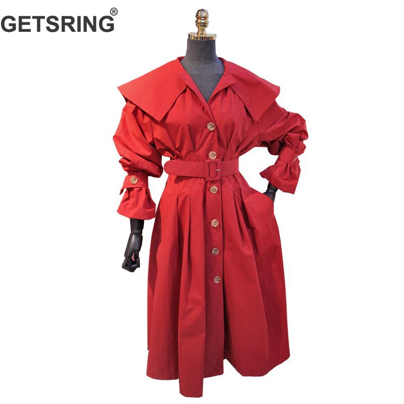 GETSRING Womens   Trench   Coats Single Breasted Loose Long Red Windbreaker Women Long Sleeve Slim Waist Lace Up Large Hem Overcoat
