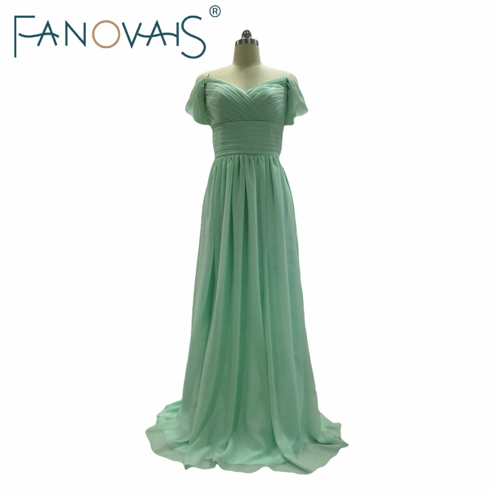 Elegant Wedding Party Bridesmaid Dresses Long Mint Green Chiffon Off The Shoulder Gowns Robe De Soiree Formal